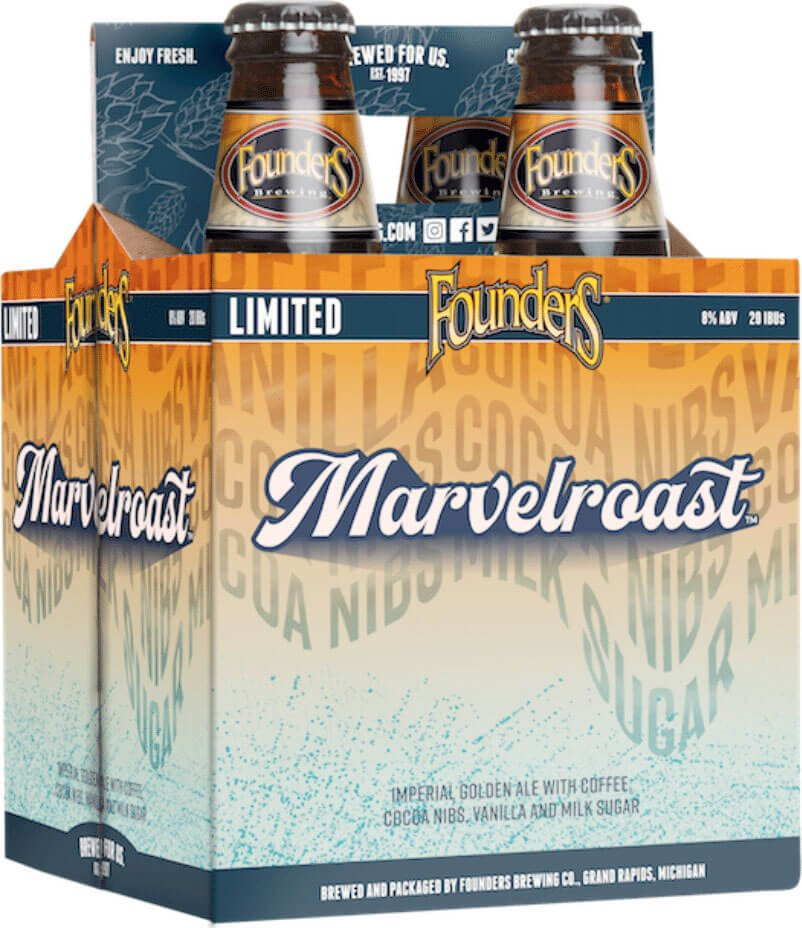 Packaging design four packs of 12 oz. bottles of the Marvelroast Imperial Golden Ale by Founders Brewing Co.