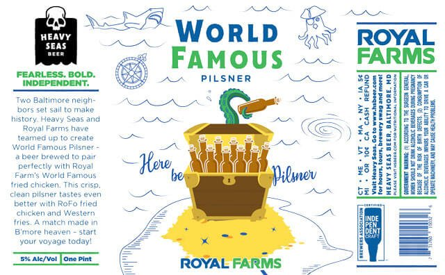 Label design for 16 oz. cans World Famous Pilsner by Heavy Seas Beer and Royal Farms