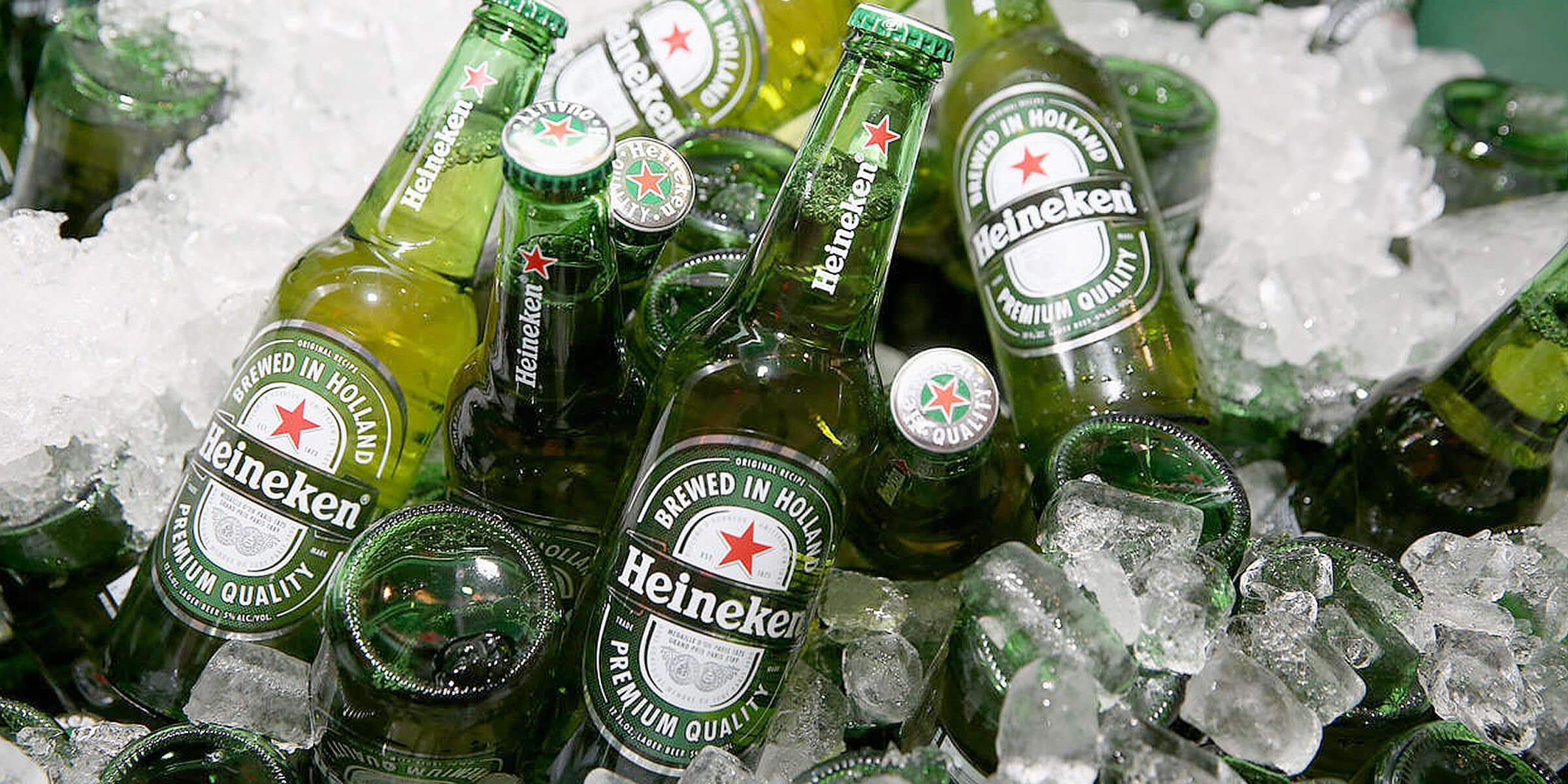 Bottles of Heineken lager by Heinken N.V. on ice