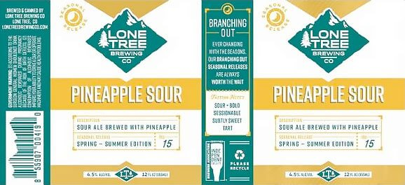 Label design for 12 oz. cans of the Pineapple Sour by Lone Tree Brewing Co