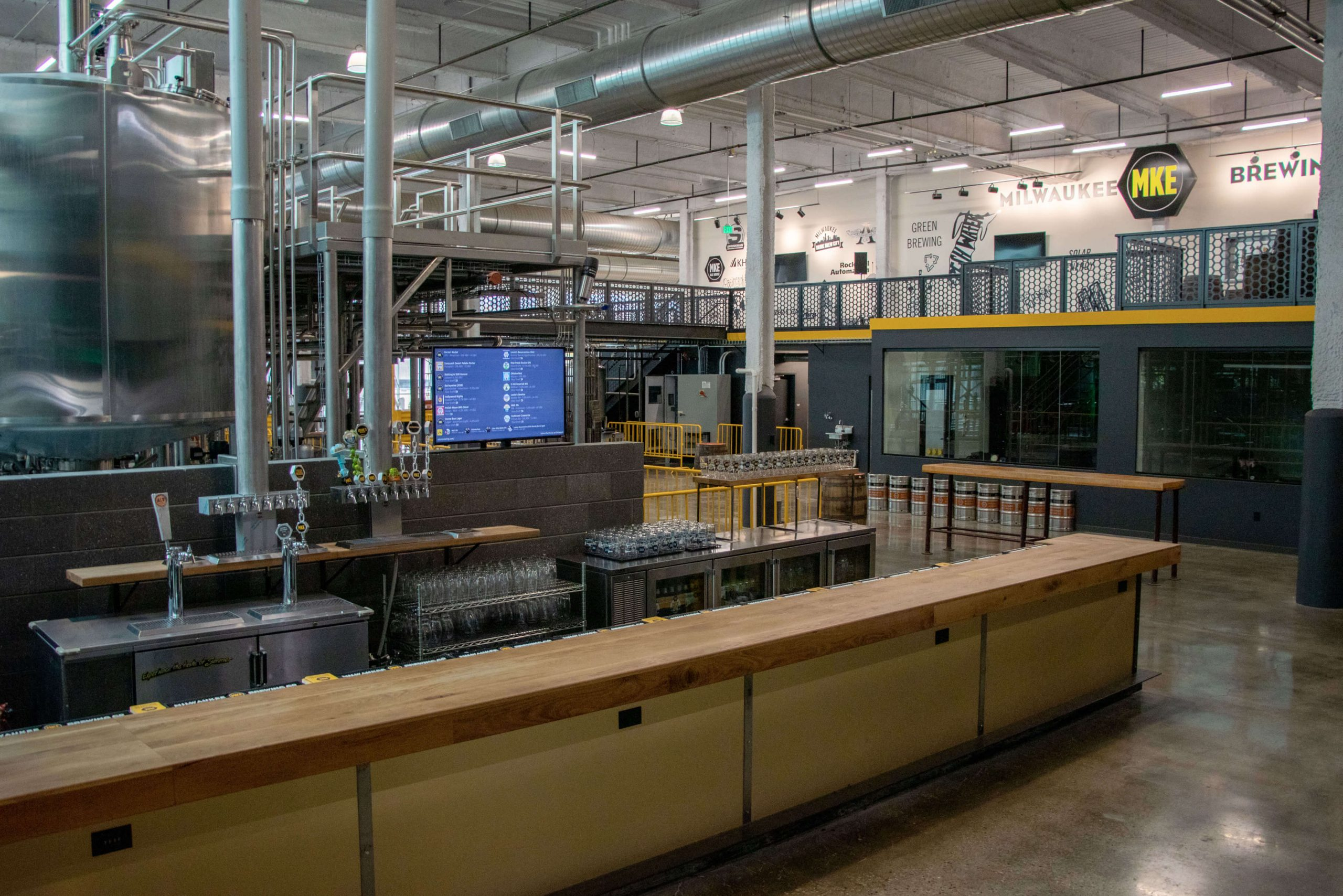 Inside the taproom at the MKE 9th Street location of Milwaukee Brewing Company in Milwaukee, Wisconsin