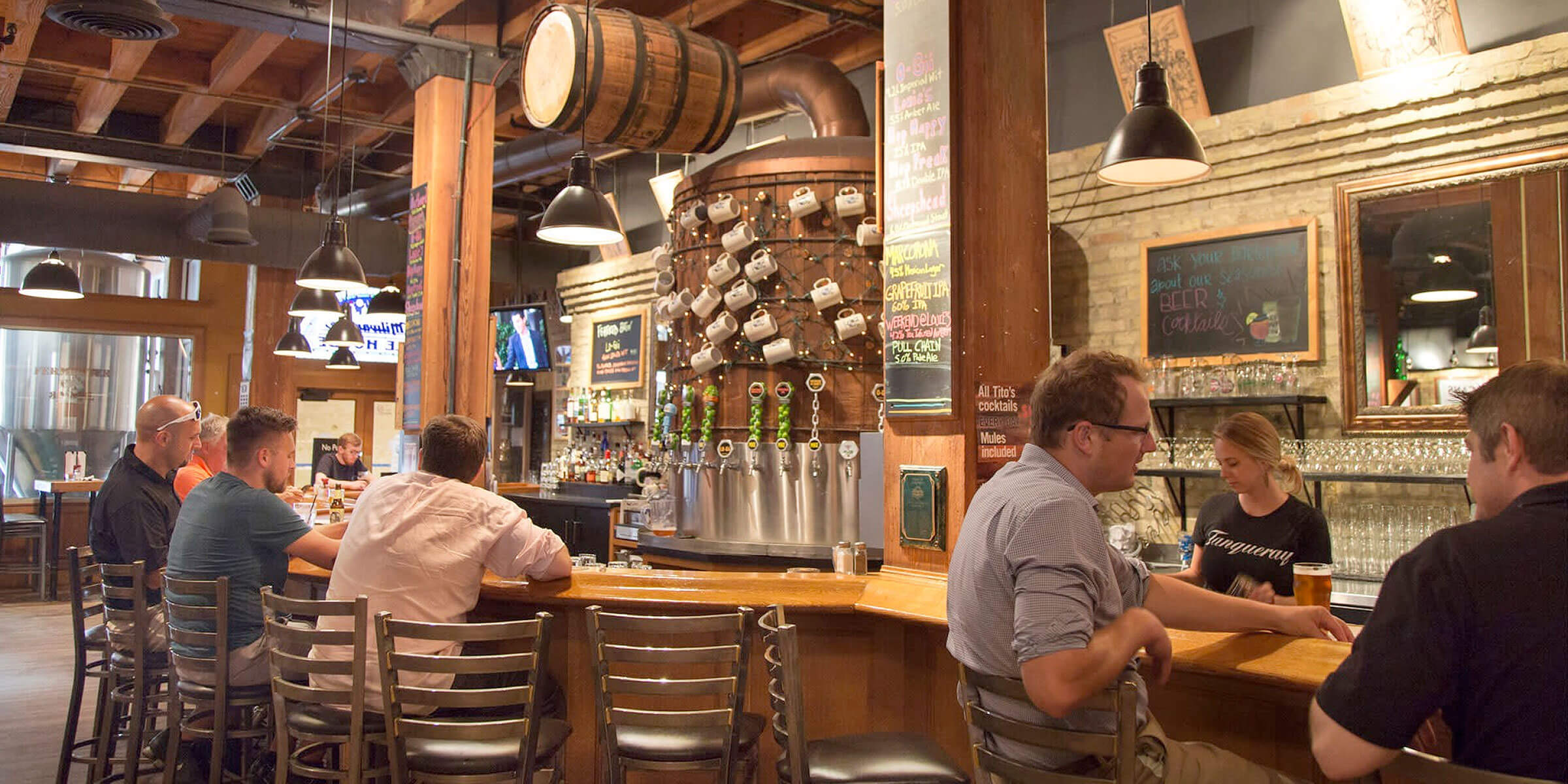 Inside the taproom at the MKE Ale House location of Milwaukee Brewing Company in Milwaukee, Wisconsin