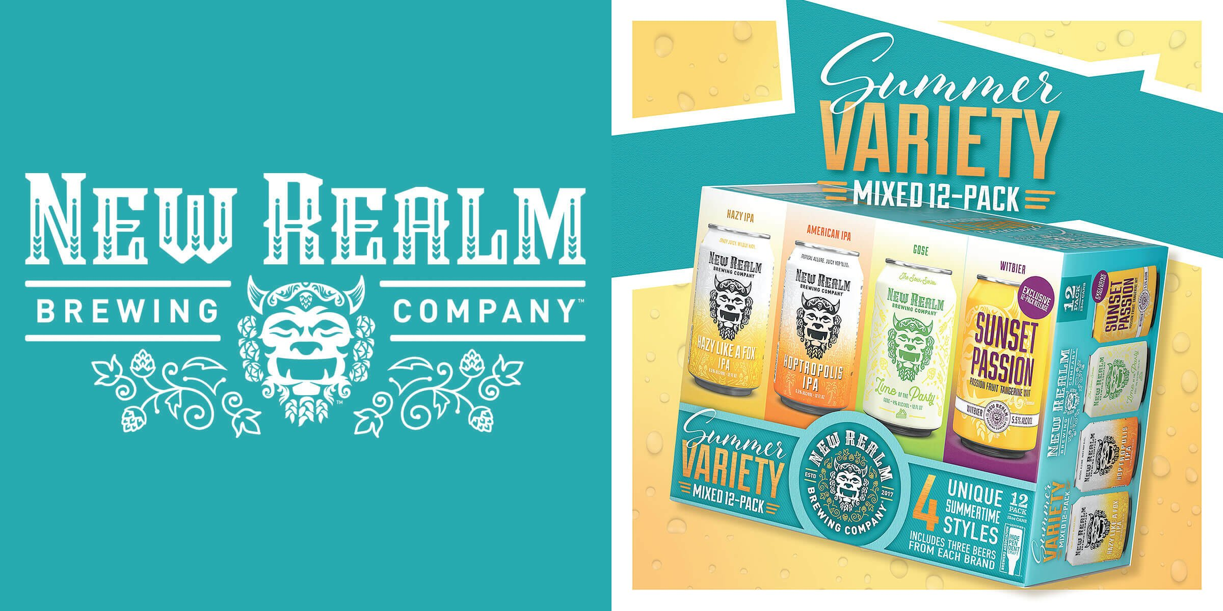 New Realm Brewing Company is releasing their Summer Variety Mixed 12-Pack which includes a trio of fan favorites and an exclusive offering, Sunset Passion.
