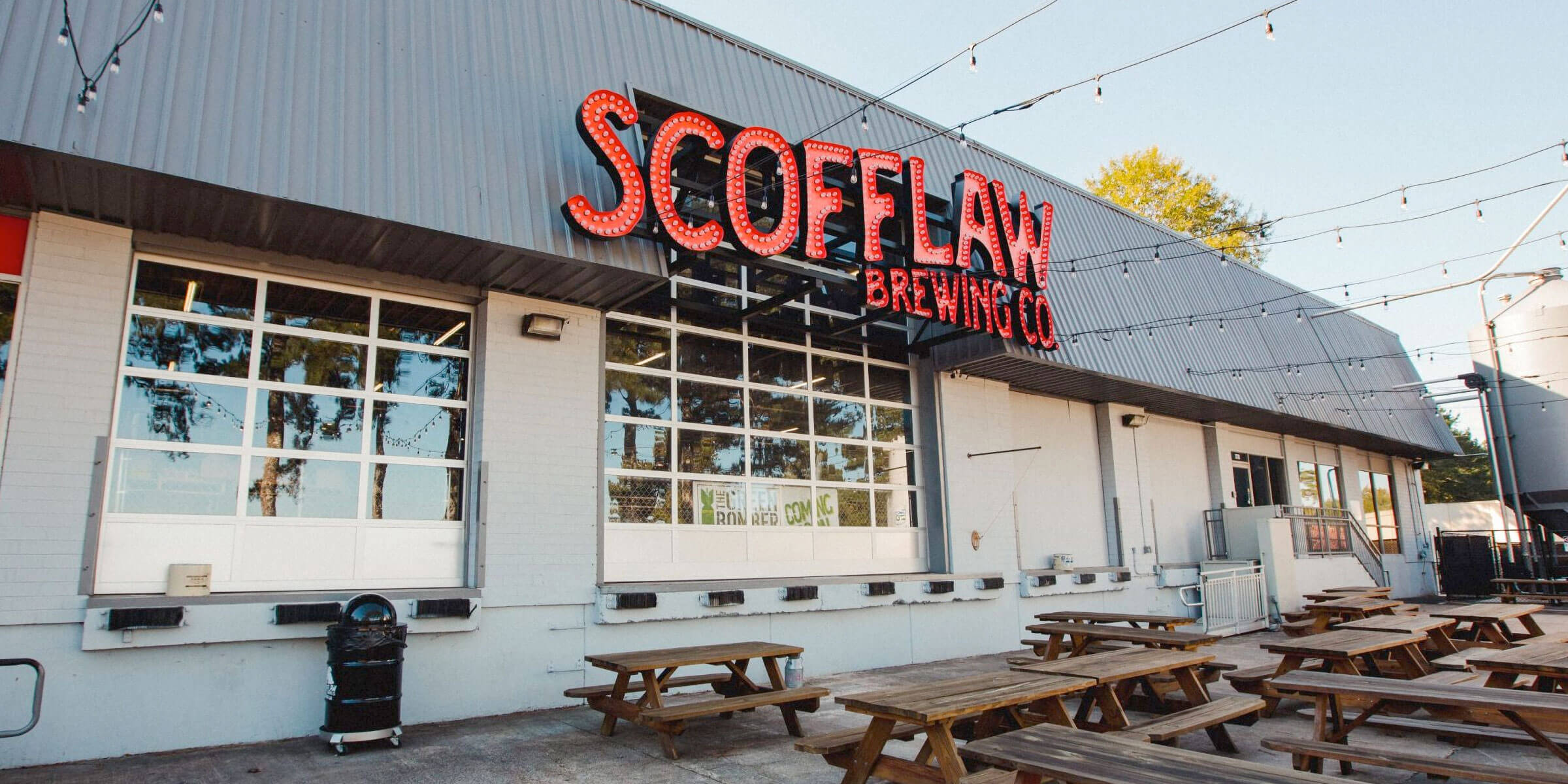 Outside on the patio at Scofflaw Brewing Co. in Atlanta, Georgia