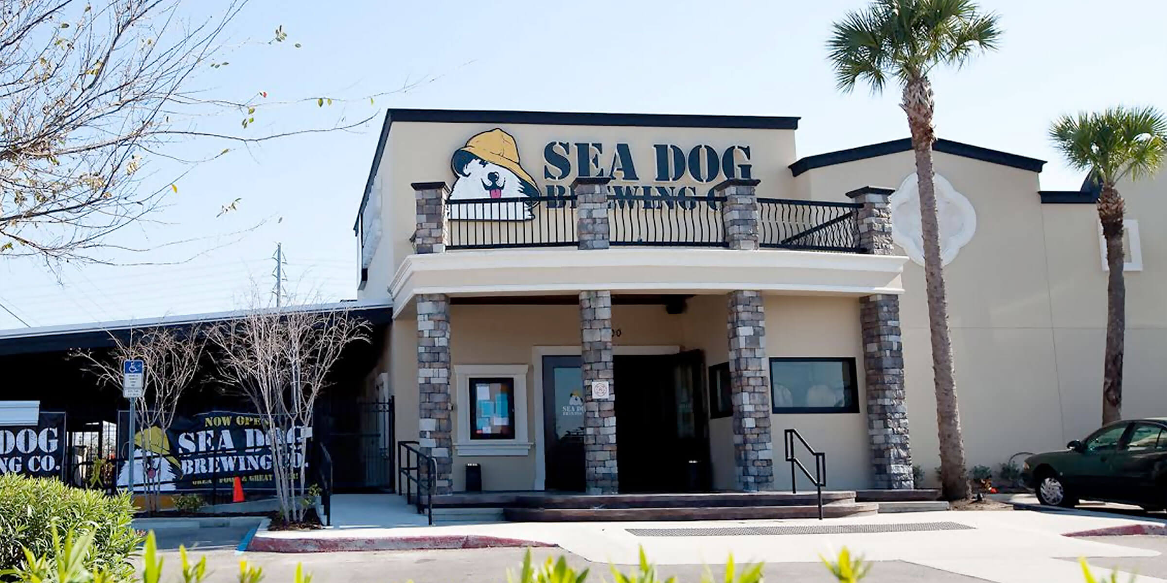Outside the brewpub at Sea Dog Brewing Co. in Clearwater, Florida