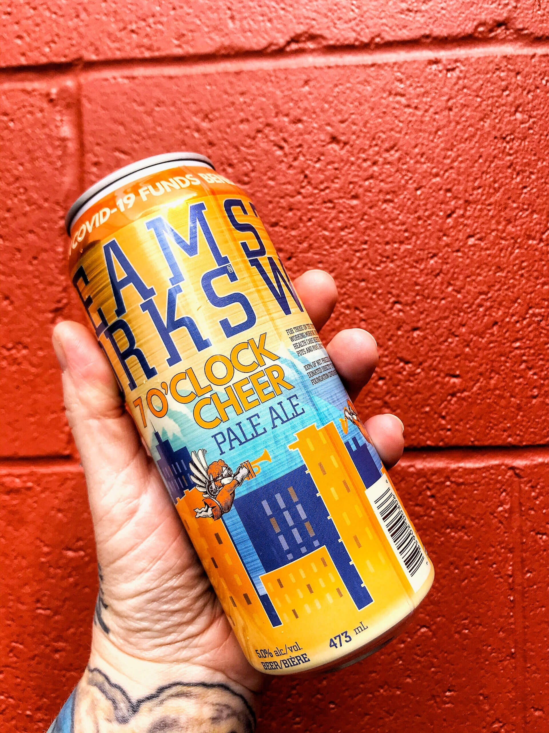 473 ml can of the 7 O'clock Cheer Pale by Steamworks Brewing Company