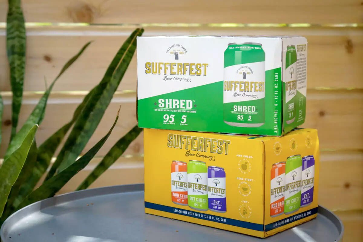 Six pack of Shred Kolsch and variety six pack including the Gut Check IPA