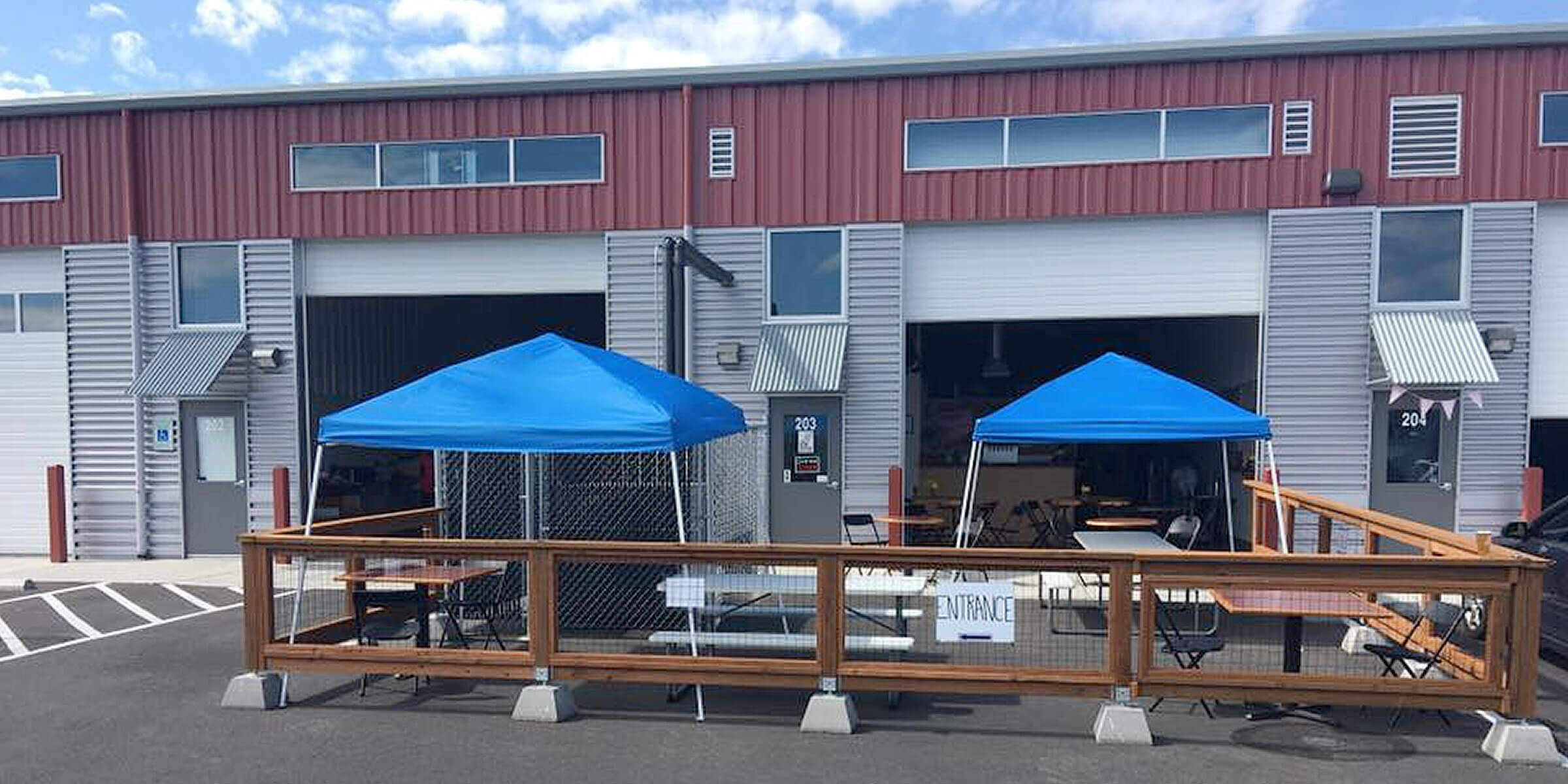 Outside on the patio at Triceratops Brewing Company in Tumwater, Washington