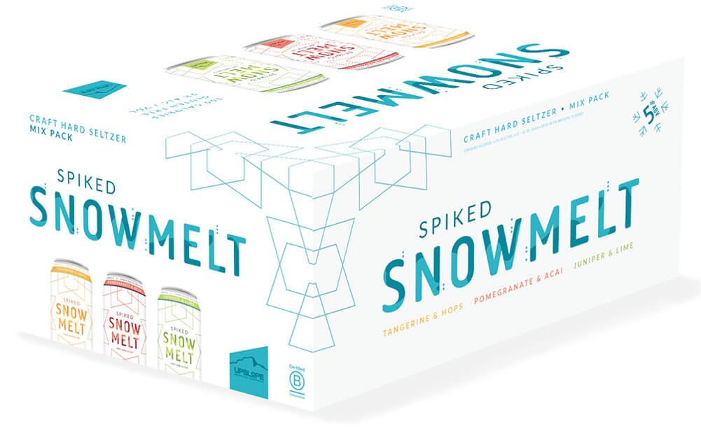 Packaging design for 12 packs of 12 oz. cans of the Spiked Snowmelt Mix Pack by Upslope Brewing Company