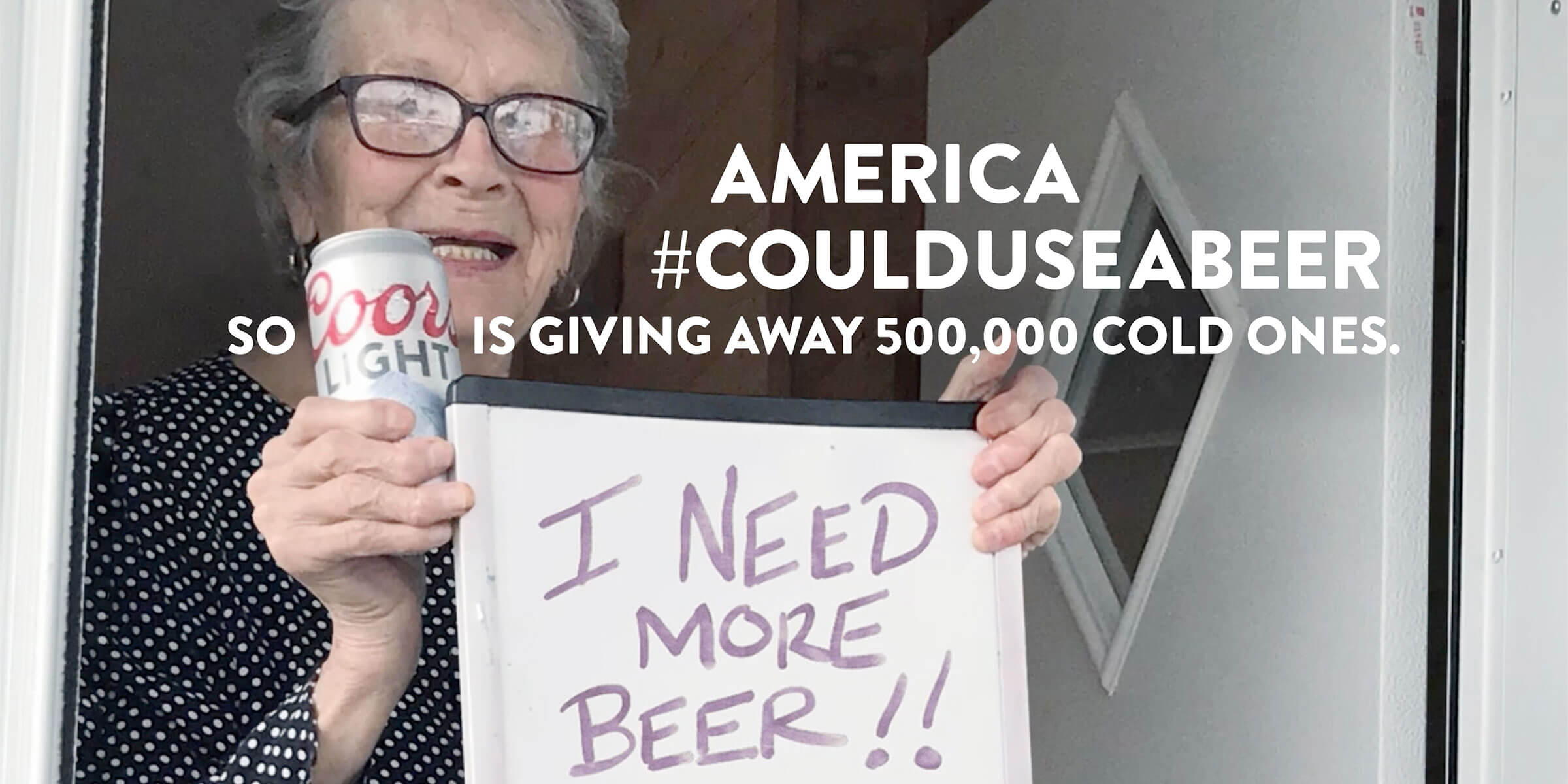 """The Coors Light beer brand expanded its """"Made to Chill"""" campaign to give away $1 million in beer to Americans across the country forced to stay at home."""
