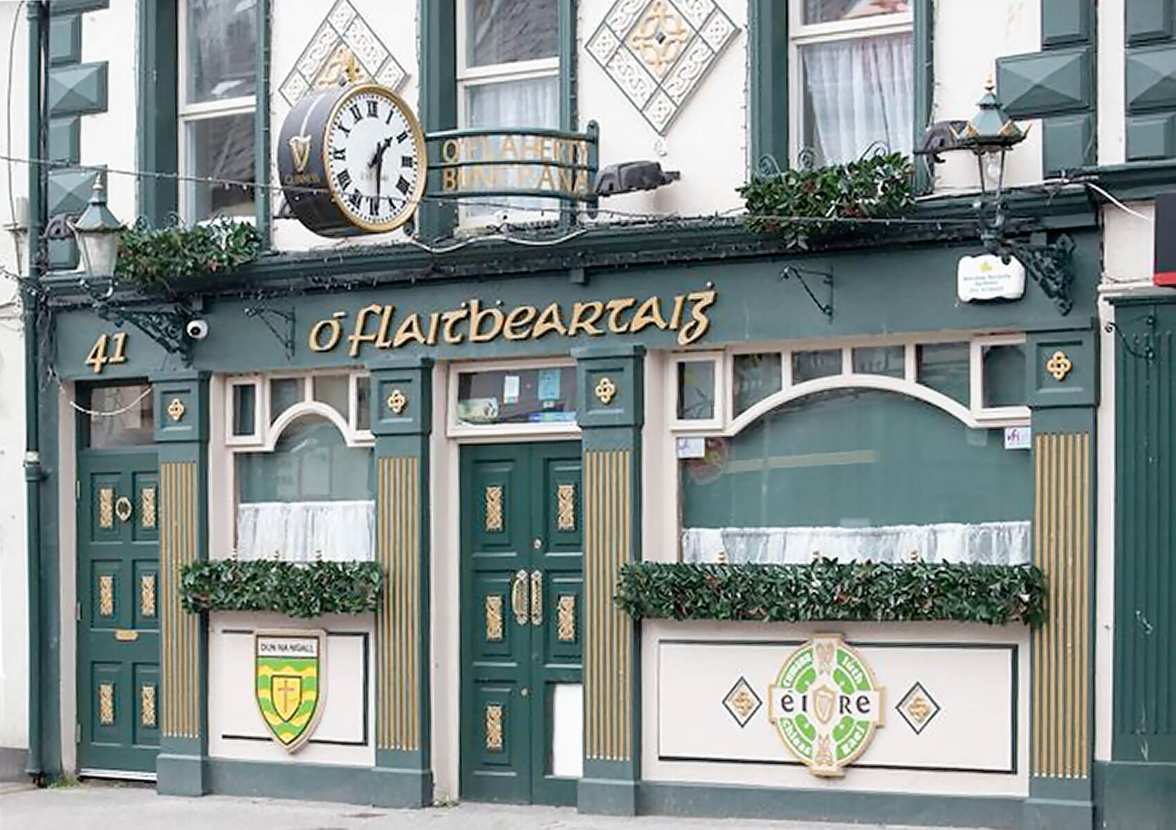 Outside the entrance to O'Flaherty's pub in Buncrana, County Donegal, Ireland