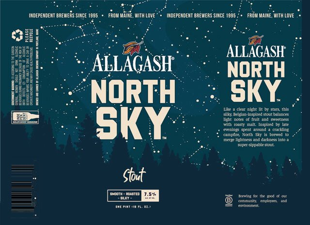 Label design for 16 oz. cans of the Night Sky Belgian-inspired Stout by Allagash Brewing Company
