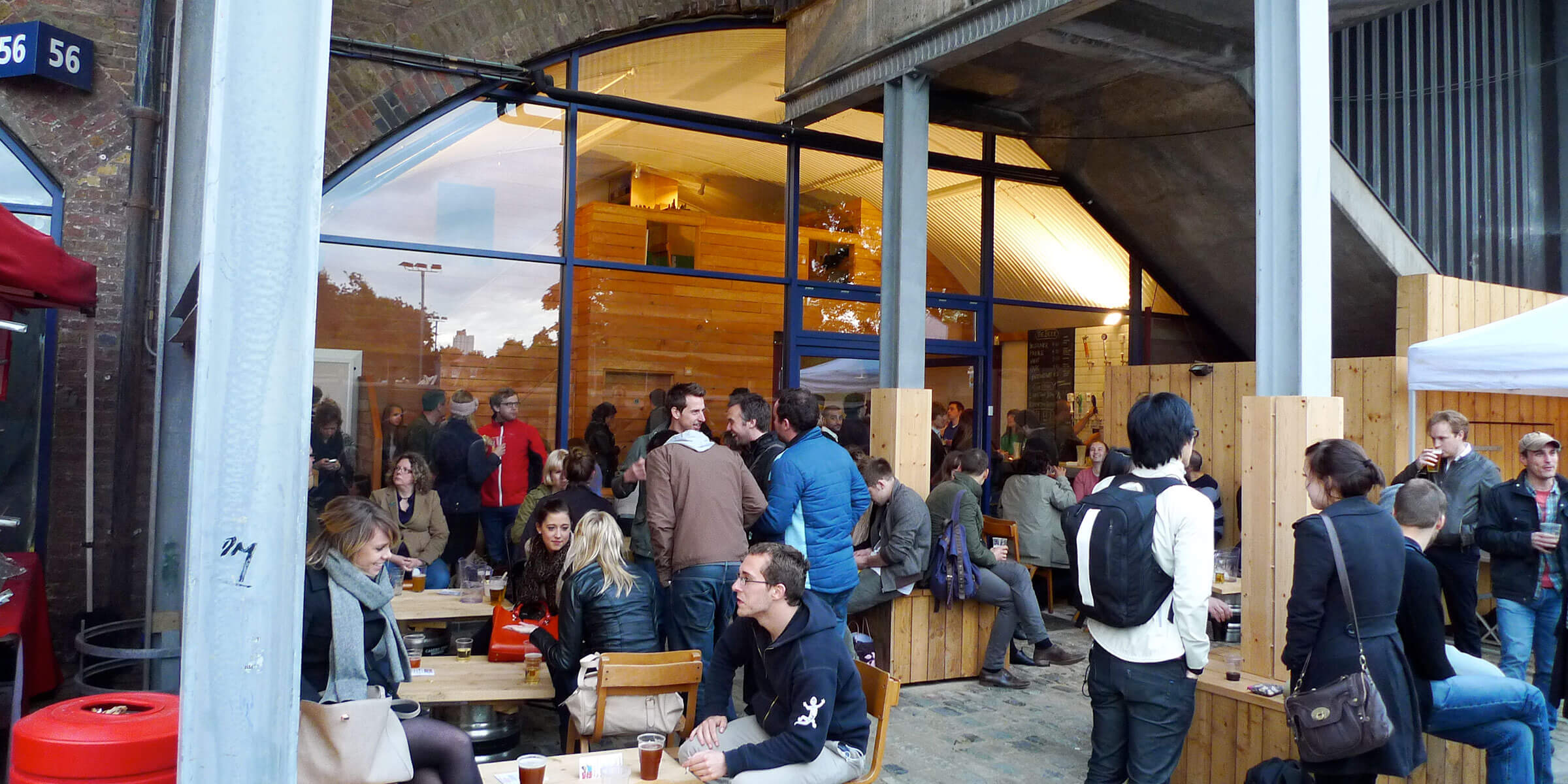 Outside on the patio at the Camden Town Brewery Pop-Up Bar in London, England