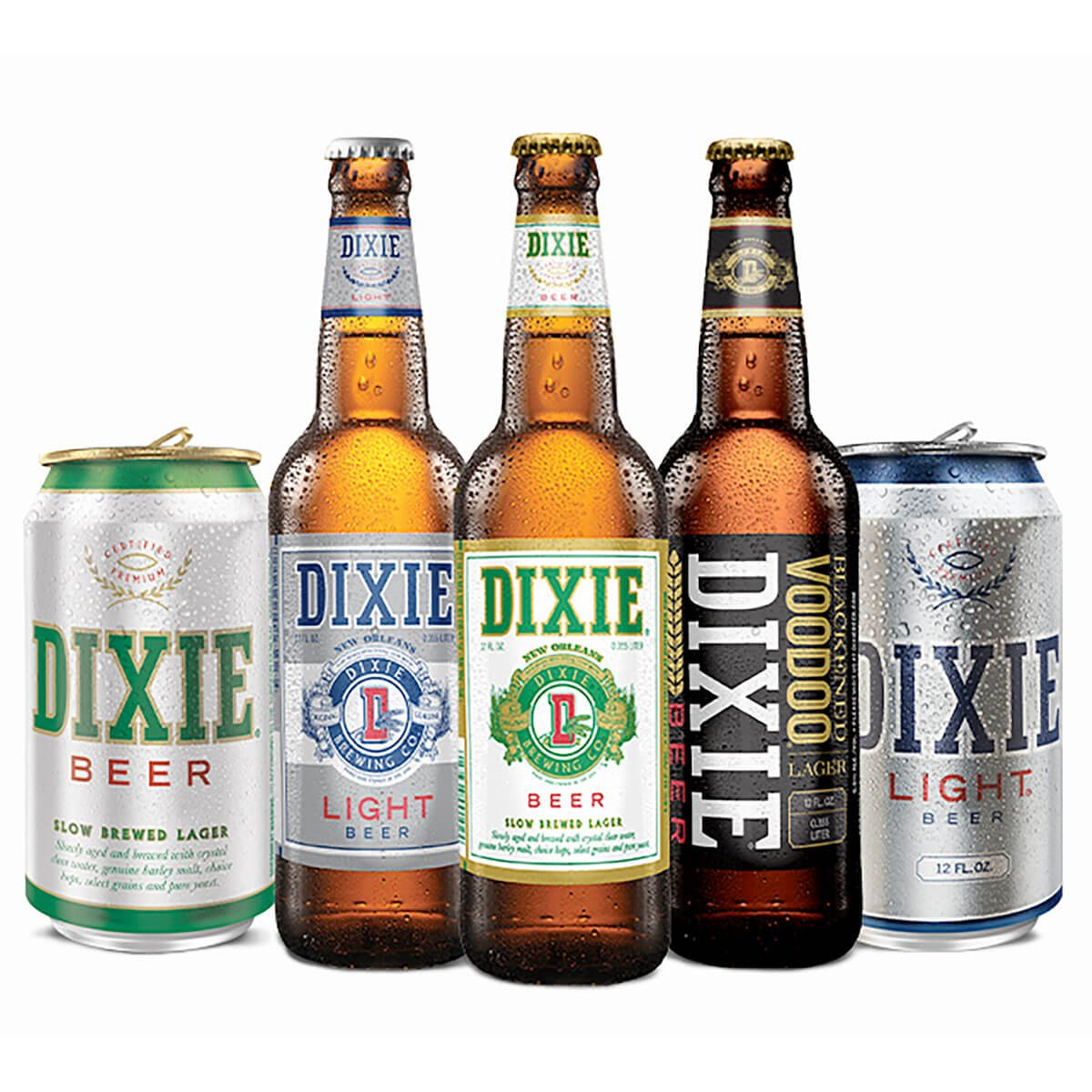 Lineup of bottled and canned beers offered by Dixie Brewing Company