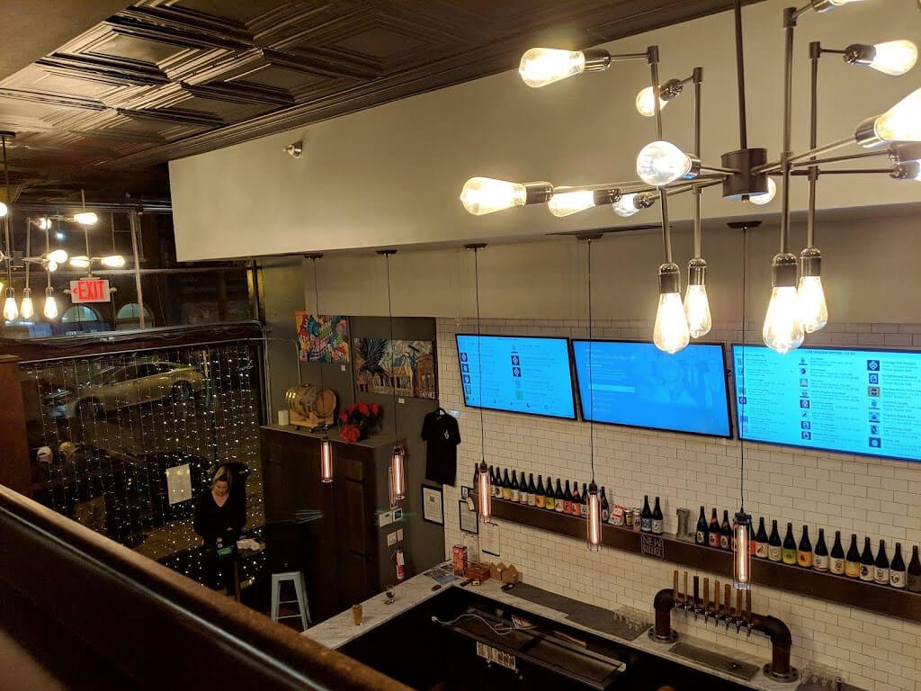 Inside the taproom at the Lickinghole Creek Craft Brewery location in Richmond, Virginia