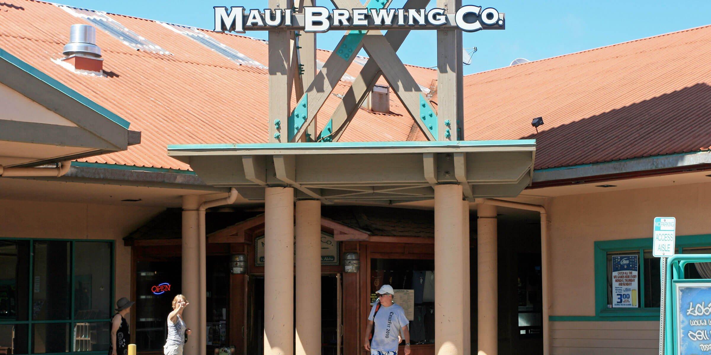 Outside the entrance to the Maui Brewing Company Lahaina Restaurant at Kahana Gateway Center in Lahaina, Hawaii