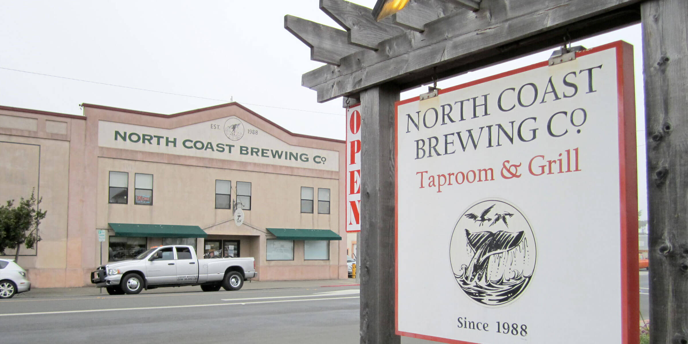 Signage outside the entrance to North Coast Brewing Co. in Fort Bragg, California