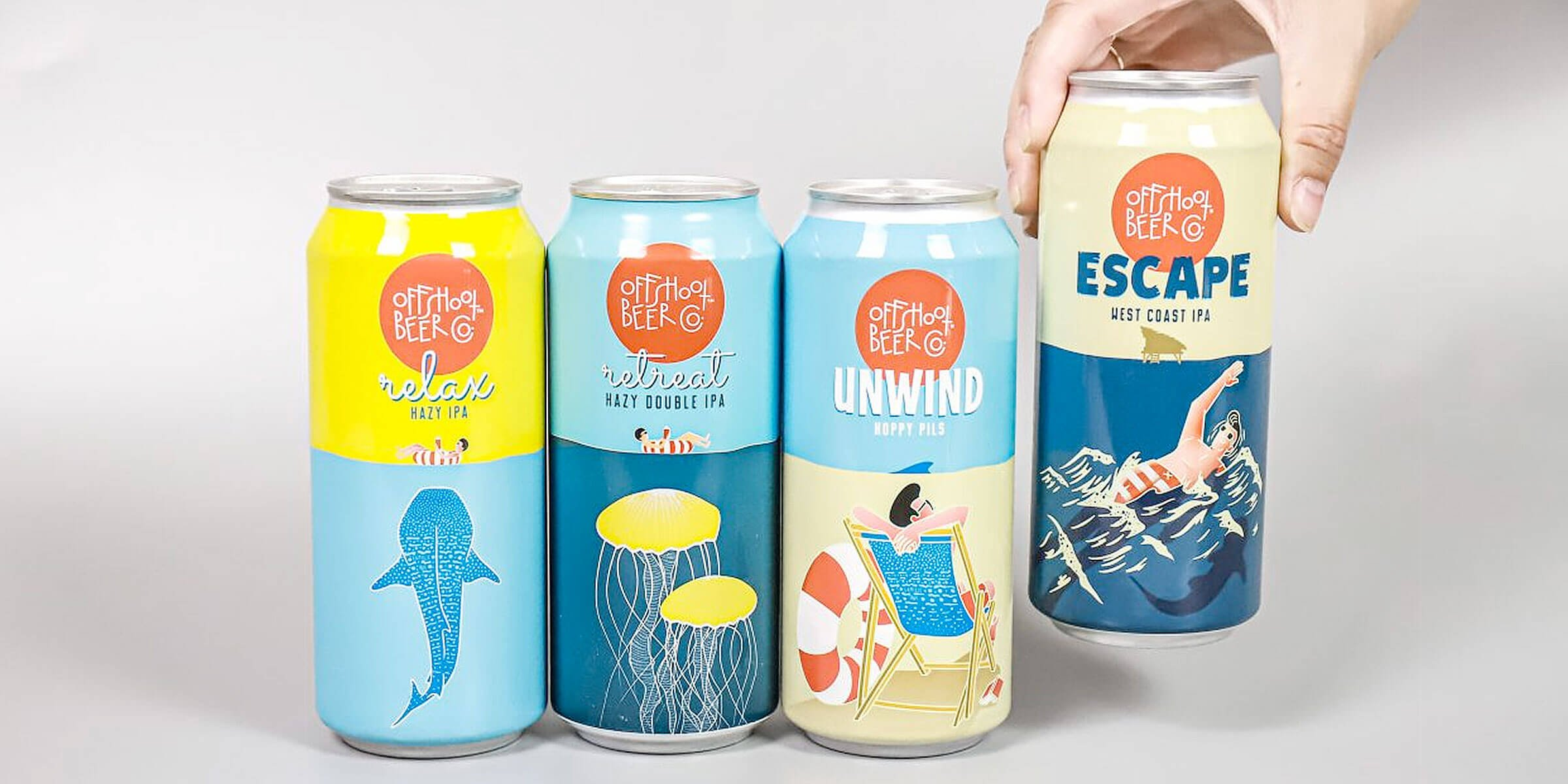 A lineup of canned beers including Relax, Retreat, Unwind, and Escape offered by Offshoot Beer Co.