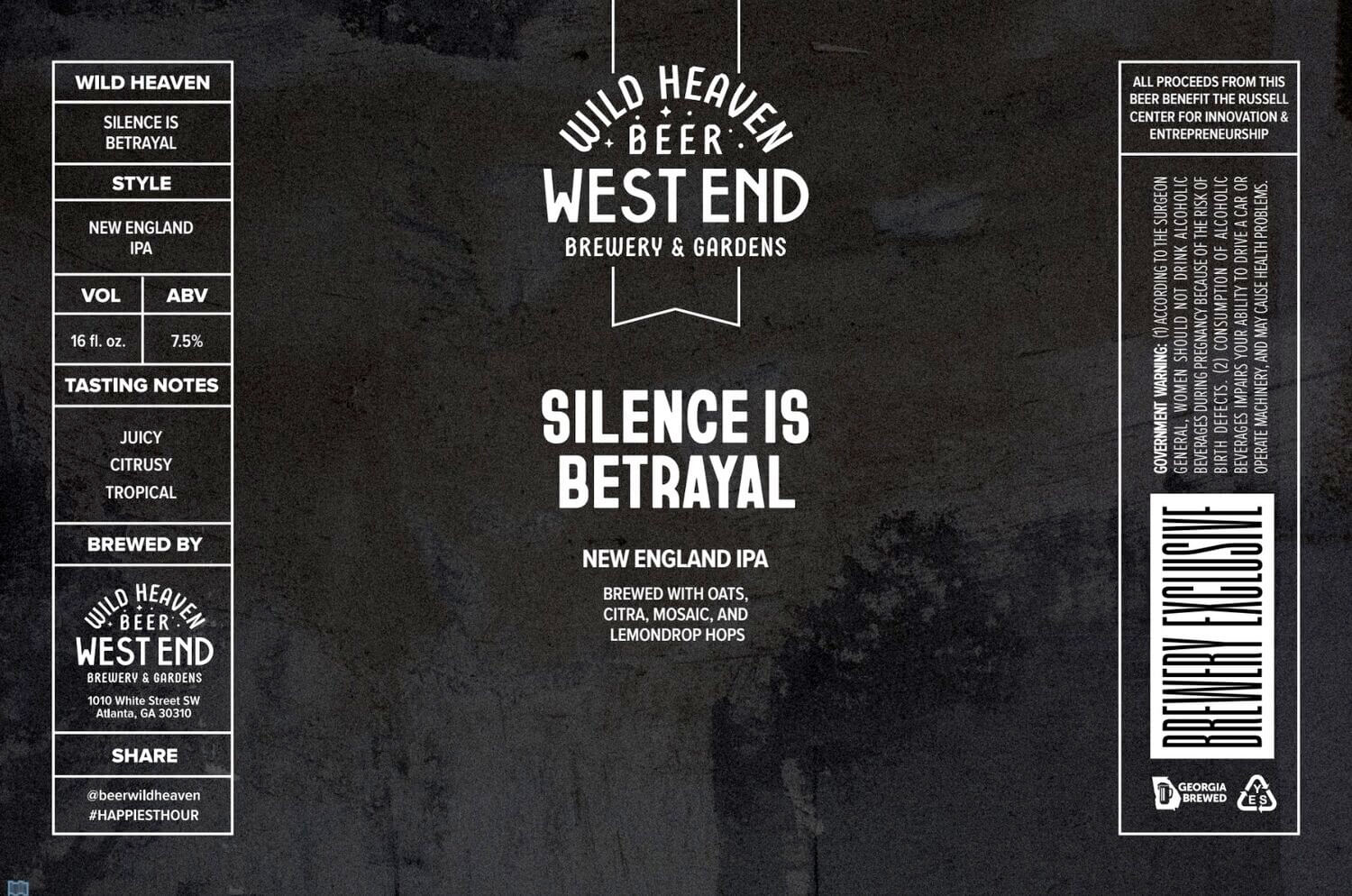 Label design for 16 oz. cans of the Silence Is Betrayal NEIPA by Wild Heaven Beer