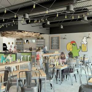 An artist's rendering of a proposed interior of Wild Parrot Brewing Company in Pasadena, California
