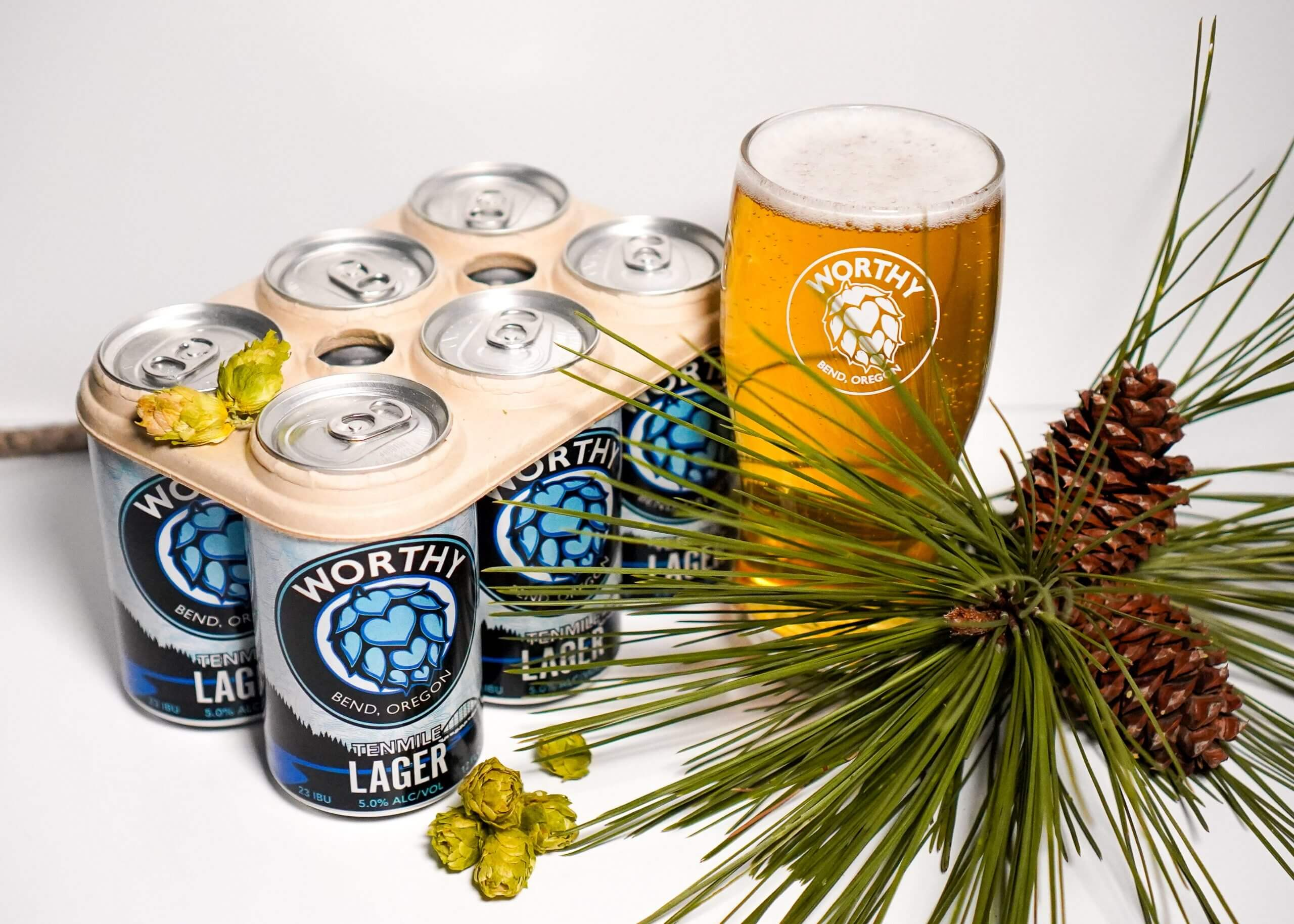 The Tenmile lager from Worthy Brewing Company features new six-pack carriers that are composed of organic plant-based material and completely decomposes in about a month.