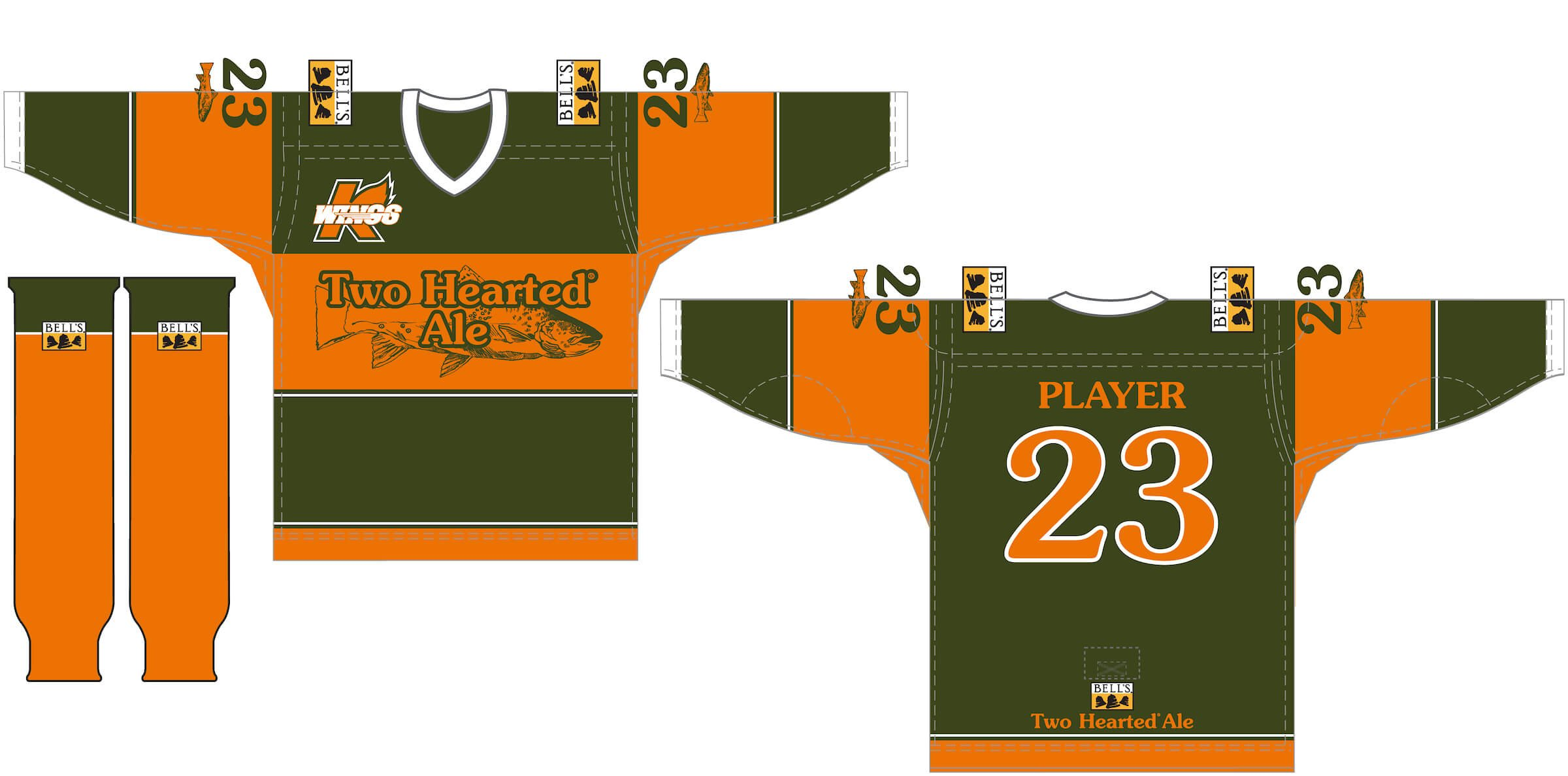 The special, limited edition hockey jerseys available at auction from Bell's Brewery, Inc. and the Kalamazoo Wings