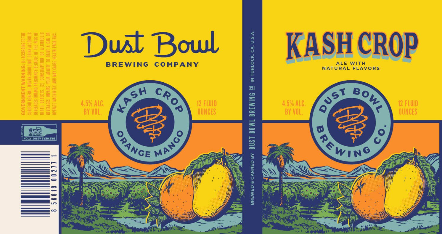 Label design for 12 oz. cans of the Kash Crop Orange Mango Ale by Dust Bowl Brewing Co.