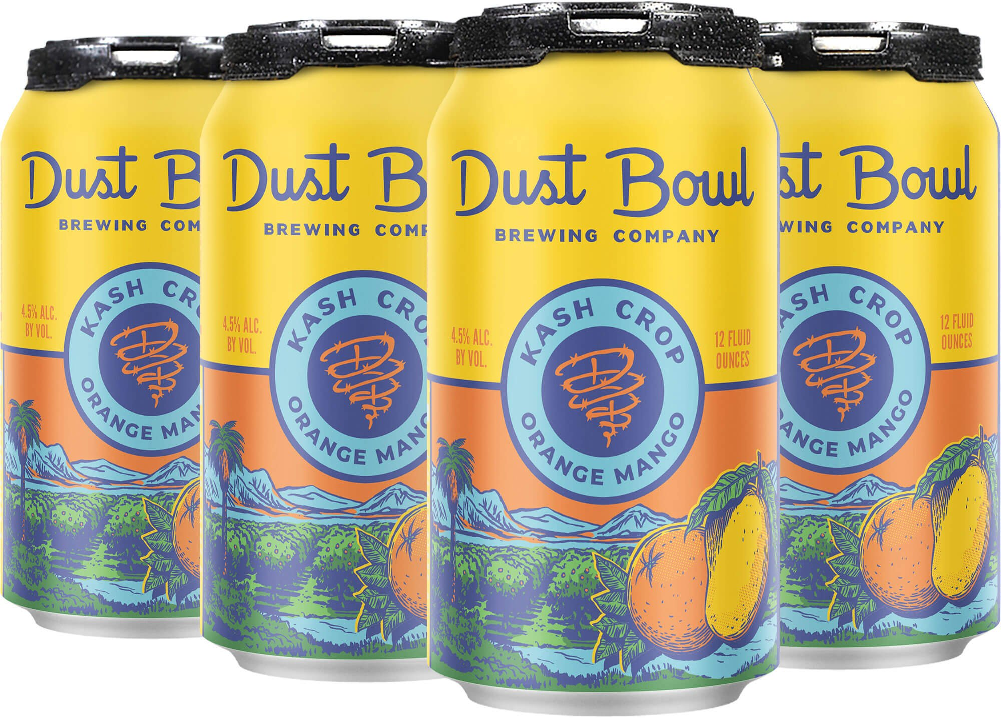 Packaging for six packs of 12 oz. cans of the Kash Crop Orange Mango Ale by Dust Bowl Brewing Co.