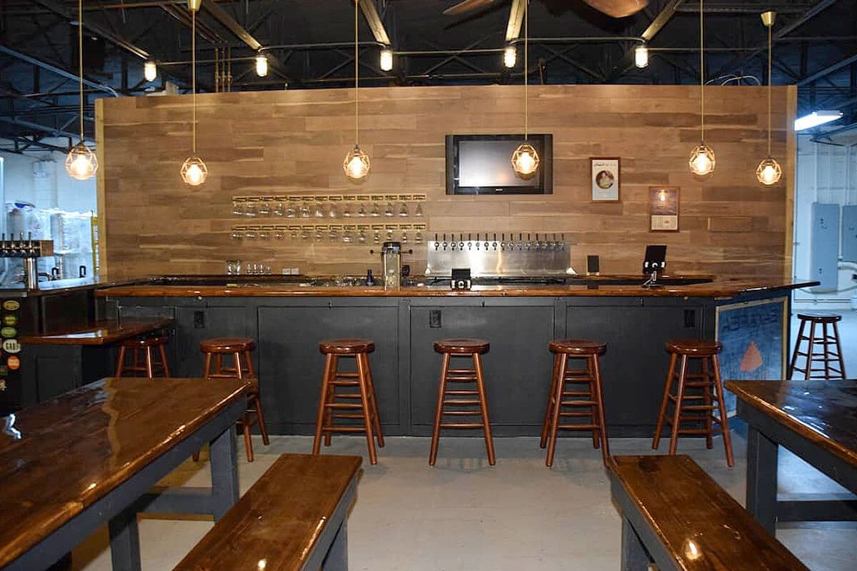 Inside the taproom at Lost City Brewing Company in North Miami, Florida