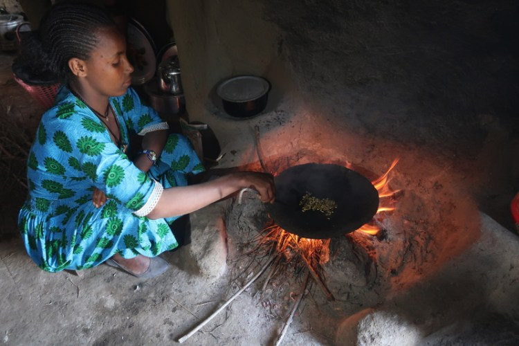 roasting during coffee ceremony in ethiopia