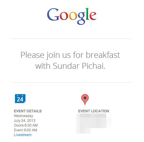 Google's invite for July 24 event