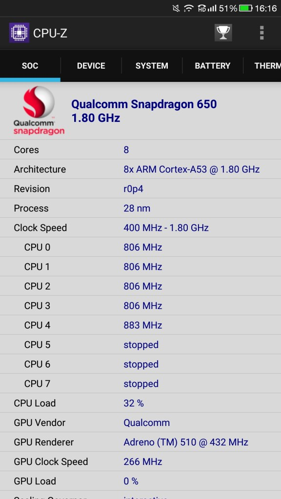 CPU-Z information Le 2