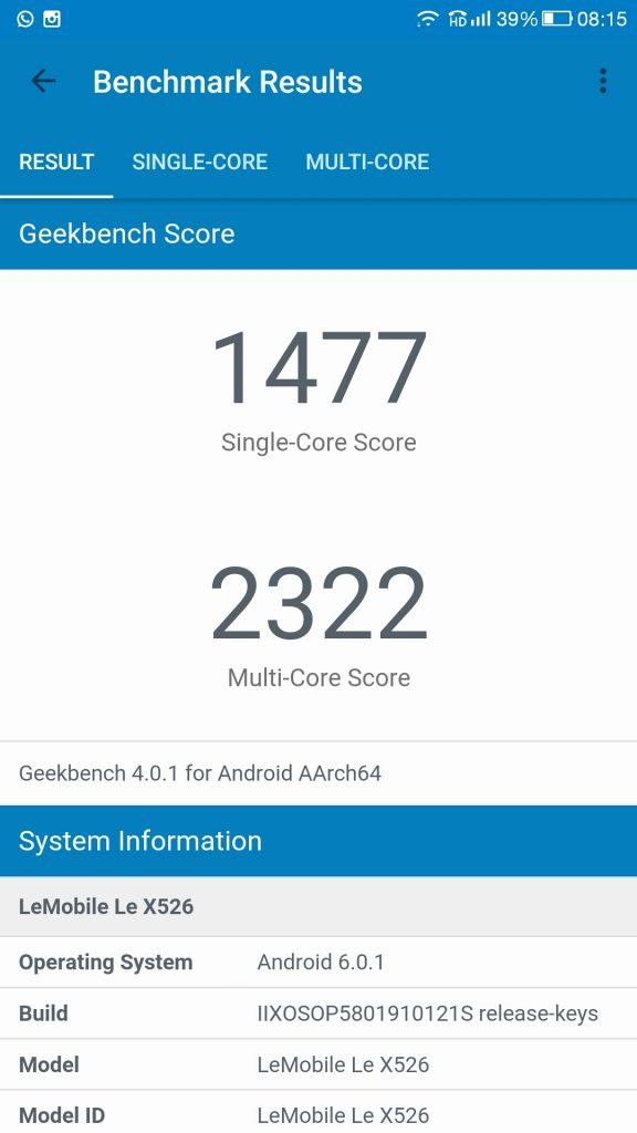 Le 2 GeekBench Single Core and MultiCore Score