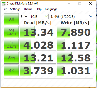 Sandisk Connect Wireless Stick CrystalDisk Mark 5 Benchmark