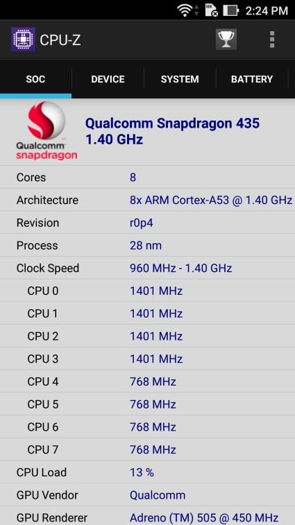 Asus Zenfone 3 Laser CPU-z