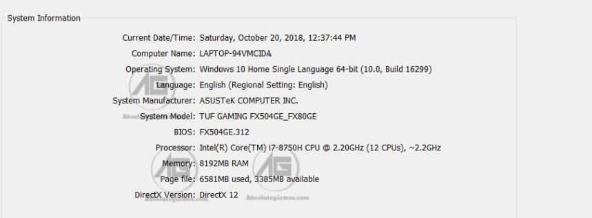 DxDiag of the Asus FX 504