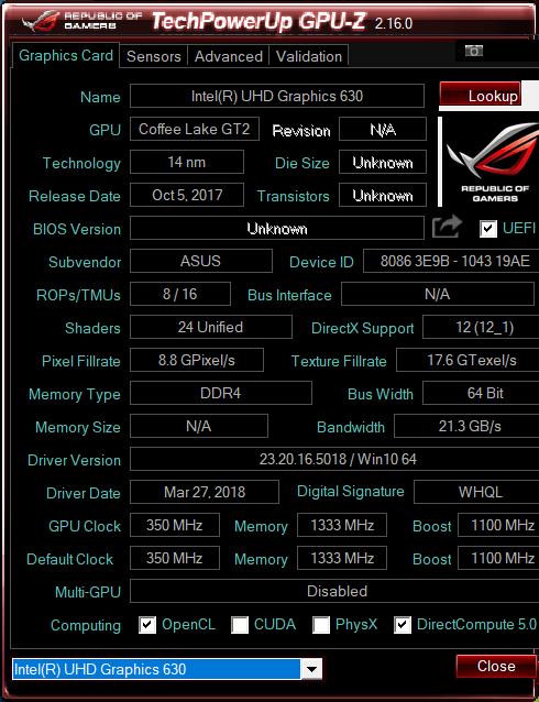Asus ROG GL504 GPU-Z