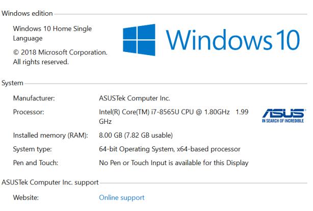 My computer properties in Asus UX433FN