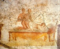 Two men and a woman making love; Pompeian wall painting, from one of the Therms (baths), the south wall of the changing rooms - painted around 79 BC