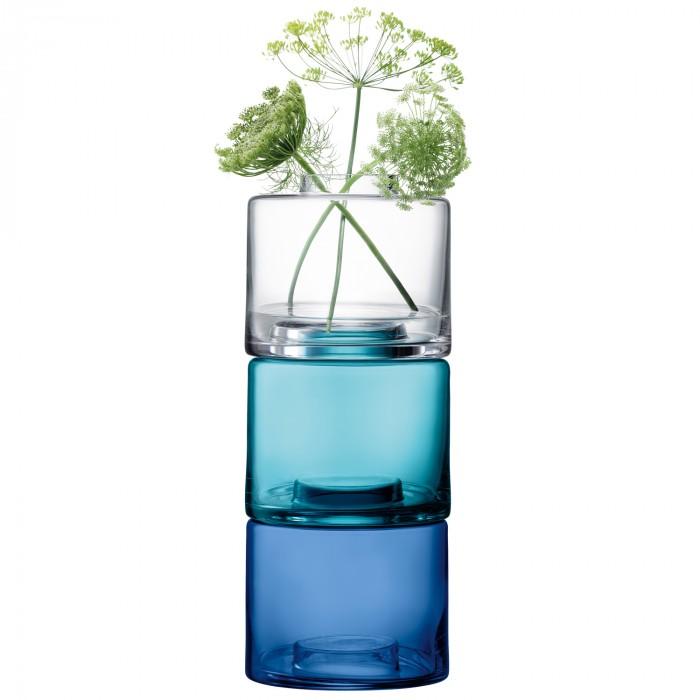 Stack Trio Vase, Shades Of Blue