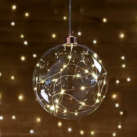 Small Clear Glass Bauble with Copper Microlight