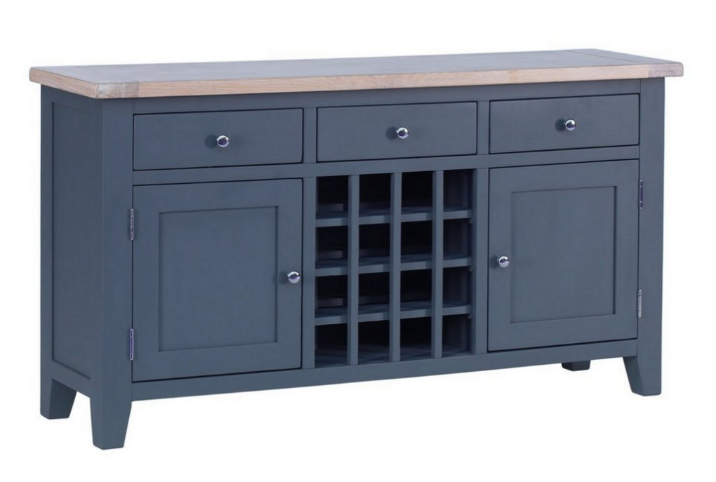 This large drinks cabinet also doubles up as a sideboard. There is plenty of room for 16 bottles of wine, crockery, cutlery and associated equipment in the cupboards and drawers. £548.99 From Wayfair.