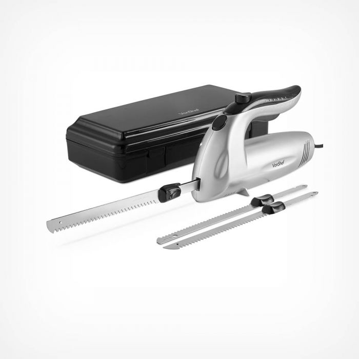 From Vonshef: featuring 2 blades and a carry box (one blade for general use and one for meat). Just £24.99