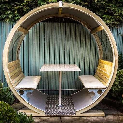 Unique Garden Wheel Bench and Table