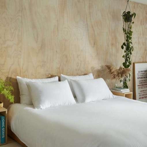 Eucalyptus Silk Duvet Cover, Stone, Double