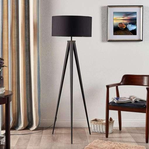 Benik Black & Gold Tripod Floor Lamp