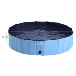 PawHut Foldable Pet Swimming Pool, Blue - 140 x 30cm