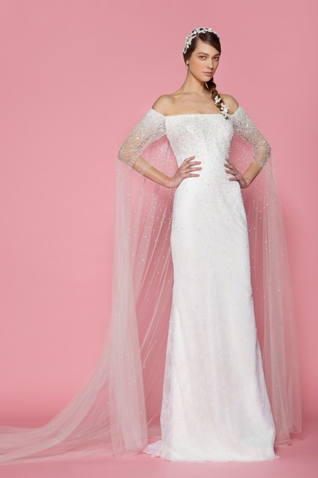 8 Georges Hobeika The perfect cape-cum-train, this design is combined with an off-the-shoulder gown for maximum impact down the aisle. thewedding-club.co.uk