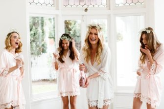 bridesmaids robes with lace picture