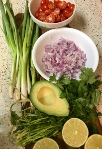 Avocado_green_onion_red_onion_lime_cilantro_tomatoes_ingredients_salmon_quinoa_salad_bowl